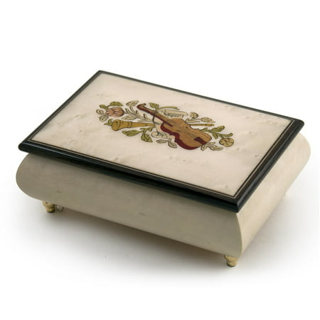 Incredible Ivory Italian Music Box with Violin and Floral Inlay - Canon in D(Pachelbel)
