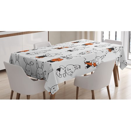 Funny Decor Tablecloth, Cute Retro Bunny Rabbit with Costumes Jack Hare Funky Carrot Sketch Print, Rectangular Table Cover for Dining Room Kitchen, 60 X 84 Inches, Orange White, by Ambesonne