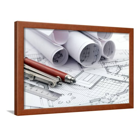 Framed Art Print Pencil - Rolls of Architecture Blueprint and Work Tools - Ruler, Pencil, Compass Framed Print Wall Art By -Vladimir-