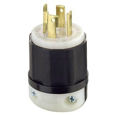 Leviton 2711 30 Amp, 125/250 Volt, NEMA L14-30P, 3P, 4W, Locking Plug, Industrial Grade, Grounding - -
