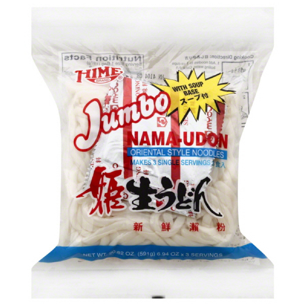 Hime Jumbo Nama-Udon Oriental Style Noodles, 20 Oz (Pack of 12)