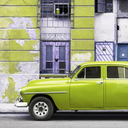 Cuba Fuerte Collection SQ - Lime Green Classic American Car Print Wall Art By Philippe Hugonnard American Classic Lime Green