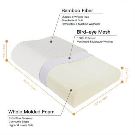 Sleep Contoured Memory Foam Pillow Neck Pillow Standard Size 60 x 40 x 15/13cm - image 6 de 8