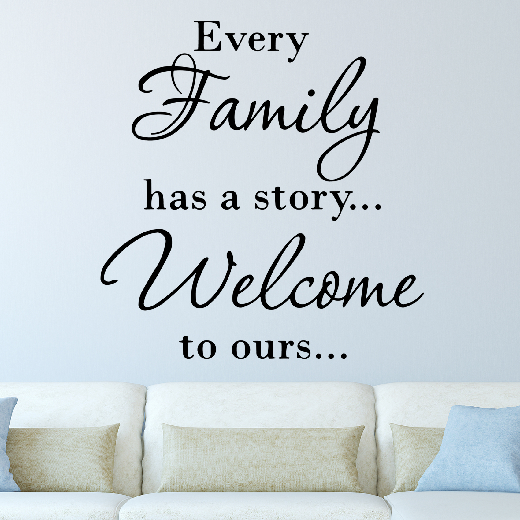 VWAQ Every Family Has a Story Welcome To Ours Art Quote Vinyl Letters Decals Wall Stickers Decor