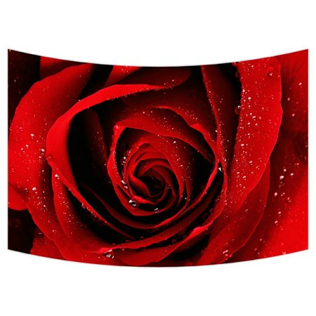 ZKGK Red Rose With Raindrop Flower Floral Pattern Tapestry Wall Hanging Wall Decor Art for Living Room Bedroom Dorm Cotton Linen Decoration 90x60 Inches