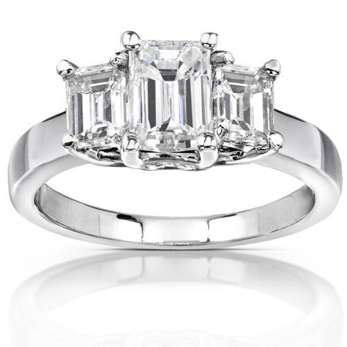 Annello 14k White Gold 2 3/4ct Emerald-cut Moissanite Three-stone Engagement Ring Size 6
