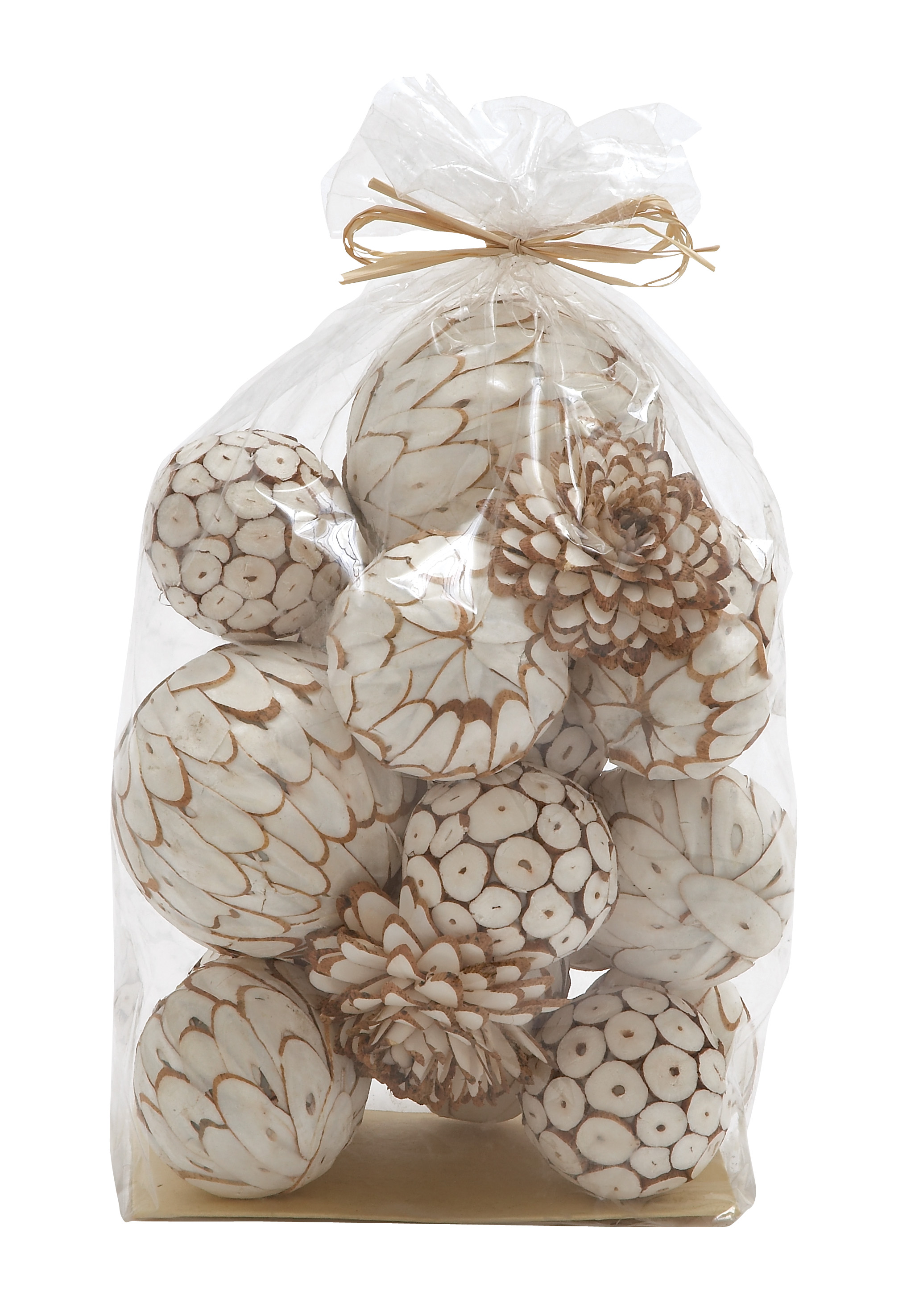 Stylish And Simple Inspired Decorative Dried Sola Ball Bag Home Accent Decor by Benzara