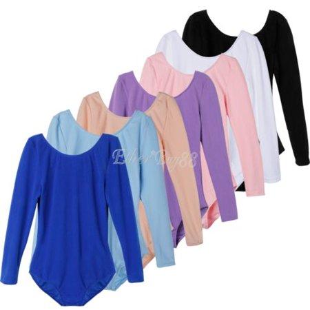 US Girls Gymnastics Leotard Dress Ballet Dance Tutu Skirt Kids Dancewear Costume - Blue Short Sleeve - 3