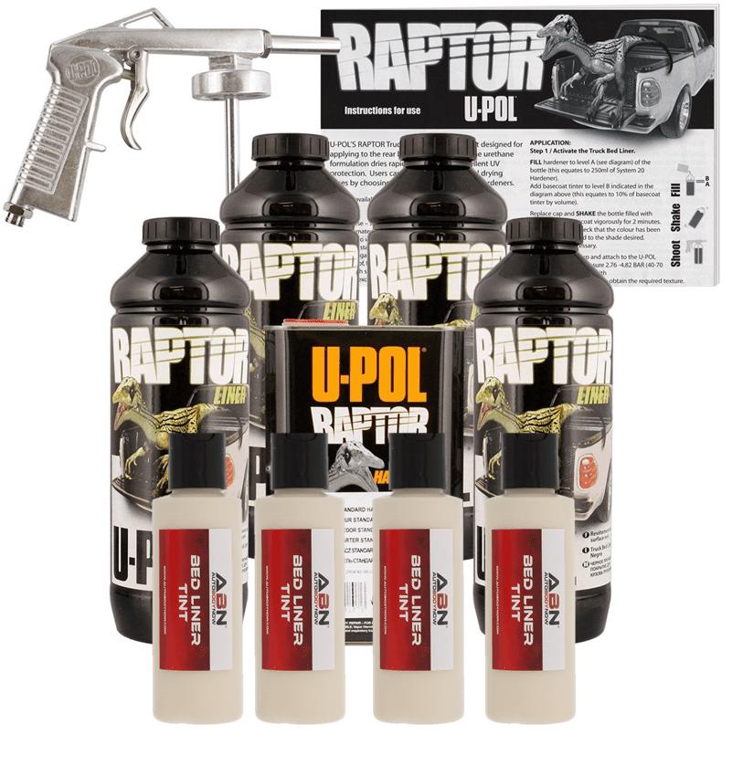 U-POL Raptor Beige Bed Liner Kit w/ Spray Gun, 4 Liters Upol