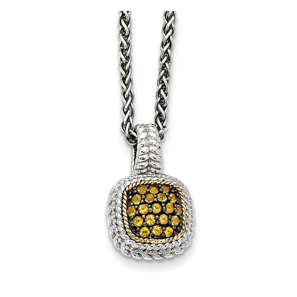 """14K Gold and 925 Sterling Silver with and Black Rhodium Citrine Necklace -18"""" (18in) by"""