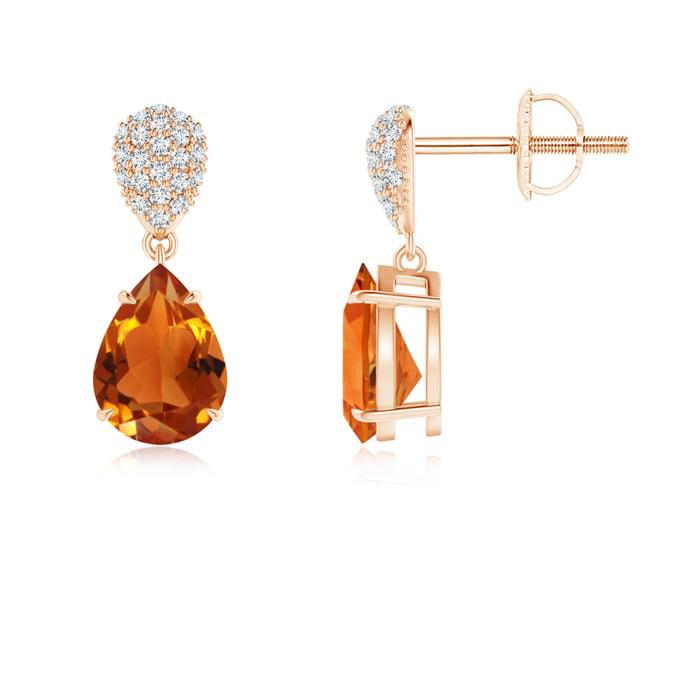 Angara Pear Shaped Citrine Drop Earrings in Rose Gold LdlRARY