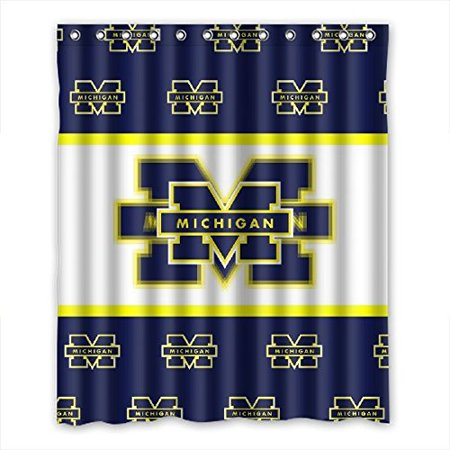 DEYOU Michigan Wolverines Shower Curtain Polyester Fabric Bathroom Size 60x72 Inches
