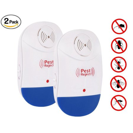 Ultrasonic Pest Repeller, Electronic Plug In Insect Repellent, Indoor Pest Control with Night Light for Cockroach, Rodents, Flies, Roaches, Ants, Spiders, Fleas, Mice (Pack of 2)