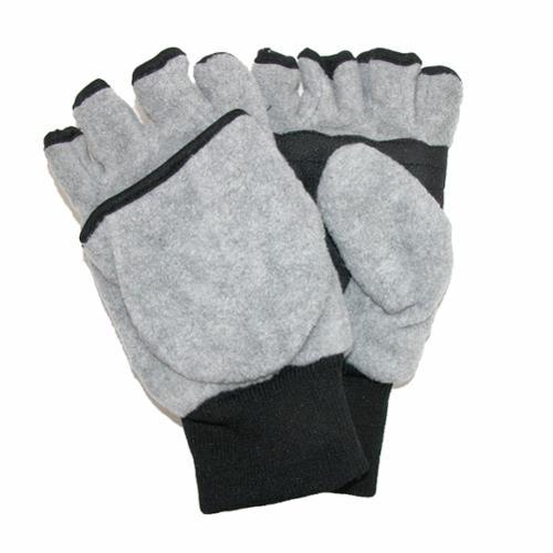 CTM® Size Large / Xlarge Kids and Teens Fleece Convertible Fingerless Winter Mitten / Gloves, Grey