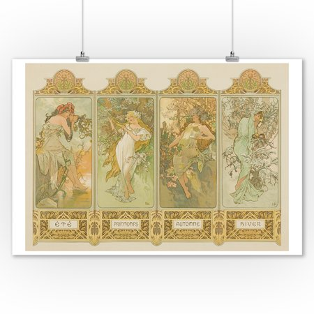 Four Seasons Vintage Poster (artist: Alphonse Mucha) France c. 1896 (9x12 Art Print, Wall Decor Travel Poster)