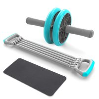 3-IN-1 Self-Assembly Chest Pull Exerciser Push-up Handles Belly Roller Wheels Arm Expander Pull Bar Weight Exerciser Equipment