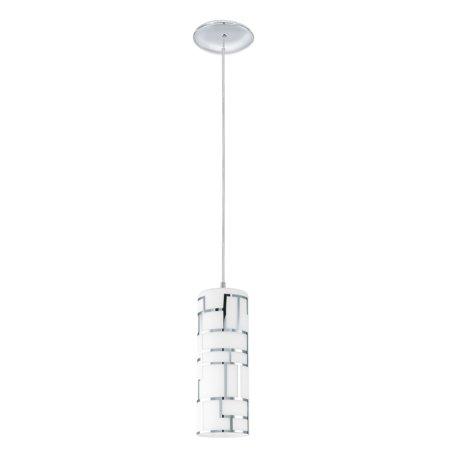 92562A-Eglo Lighting-Bayman - One Light Mini Pendant  Chrome Finish with White Glass