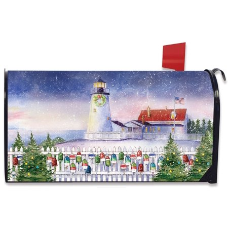 Christmas Lighthouse Magnetic Mailbox Cover Nautical (Lighthouse Mailbox)
