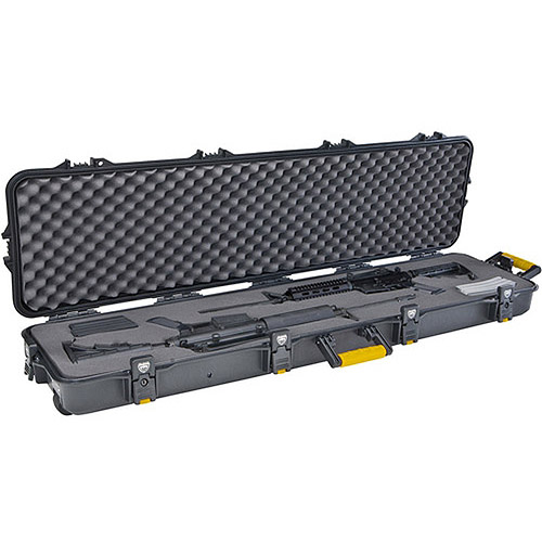 Plano AW Double Scoped Rifle Case with Wheels, Black/Yellow