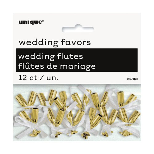Mini Gold Champagne Flute Wedding Favor Charms, 12-Count
