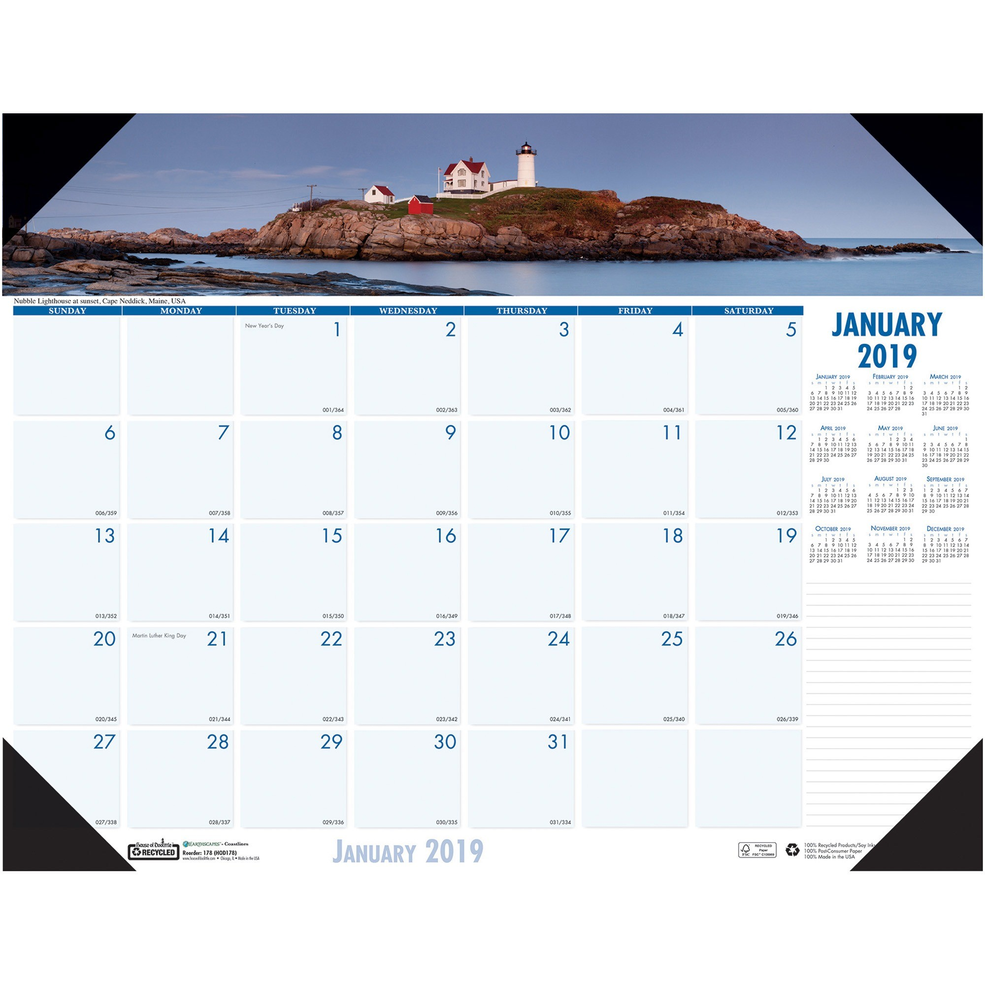 House of Doolittle Recycled Coastlines Photographic Monthly Desk Pad Calendar, 22 x 17, 2017