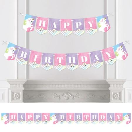 Rainbow Party Banner (Rainbow Unicorn - Birthday Party Bunting Banner - Magical Unicorn Party Decorations - Happy)