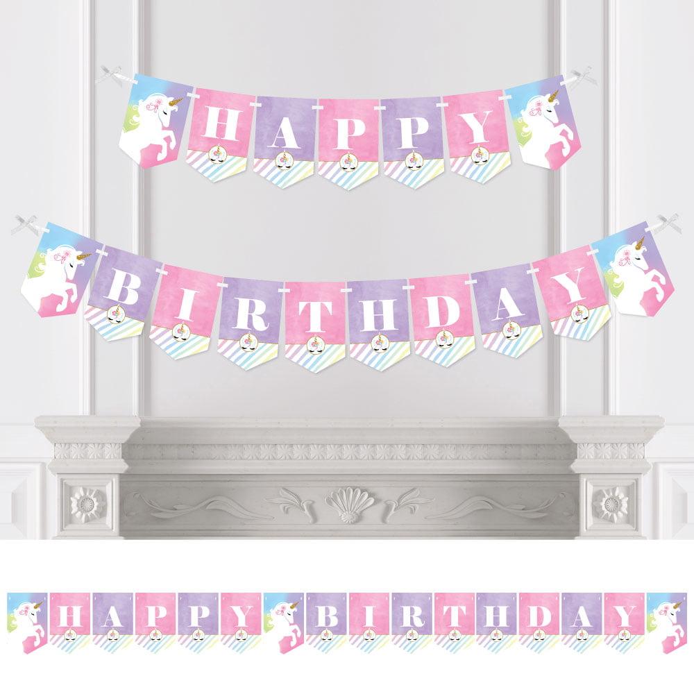 Rainbow Unicorn - Birthday Party Bunting Banner - Magical Unicorn Party Decorations - Happy Birthday
