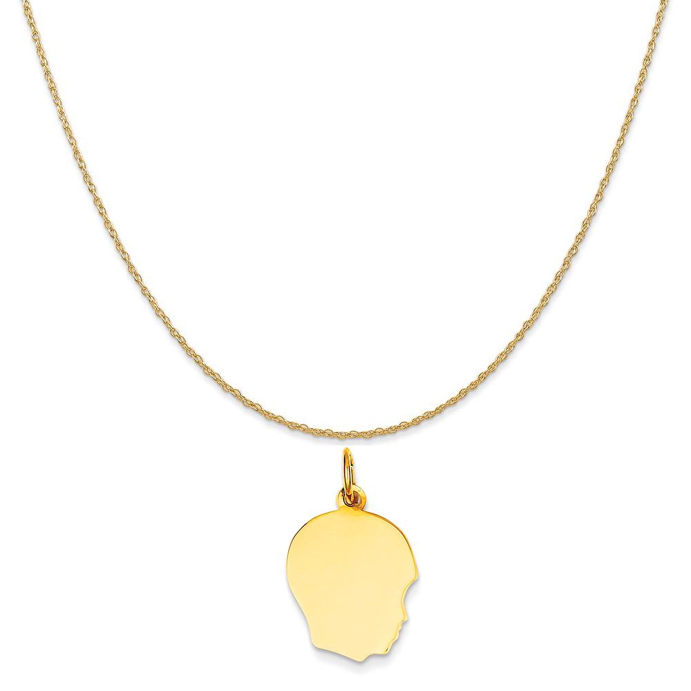 "14k Yellow Gold Plain Medium .018 Gauge Facing Right Engravable Boy Head Charm Necklace, 18"""