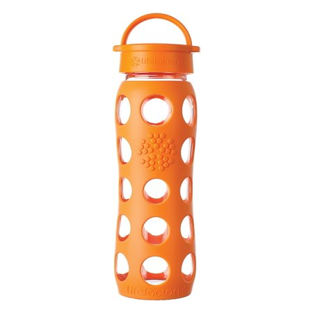Lifefactory 22oz Glass Water Bottle with Classic Cap - Orange