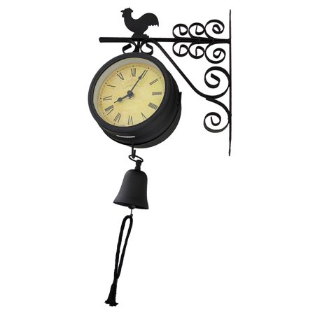 Double Sided Train Station Style Hanging Metal Rooster Clock