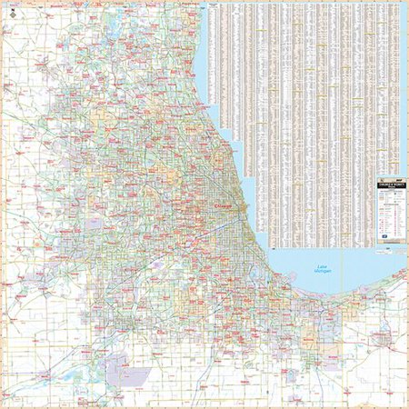 Universal Map Laminated Chicago IL and Vicinity Wall Map 56\'\' x 56 ...