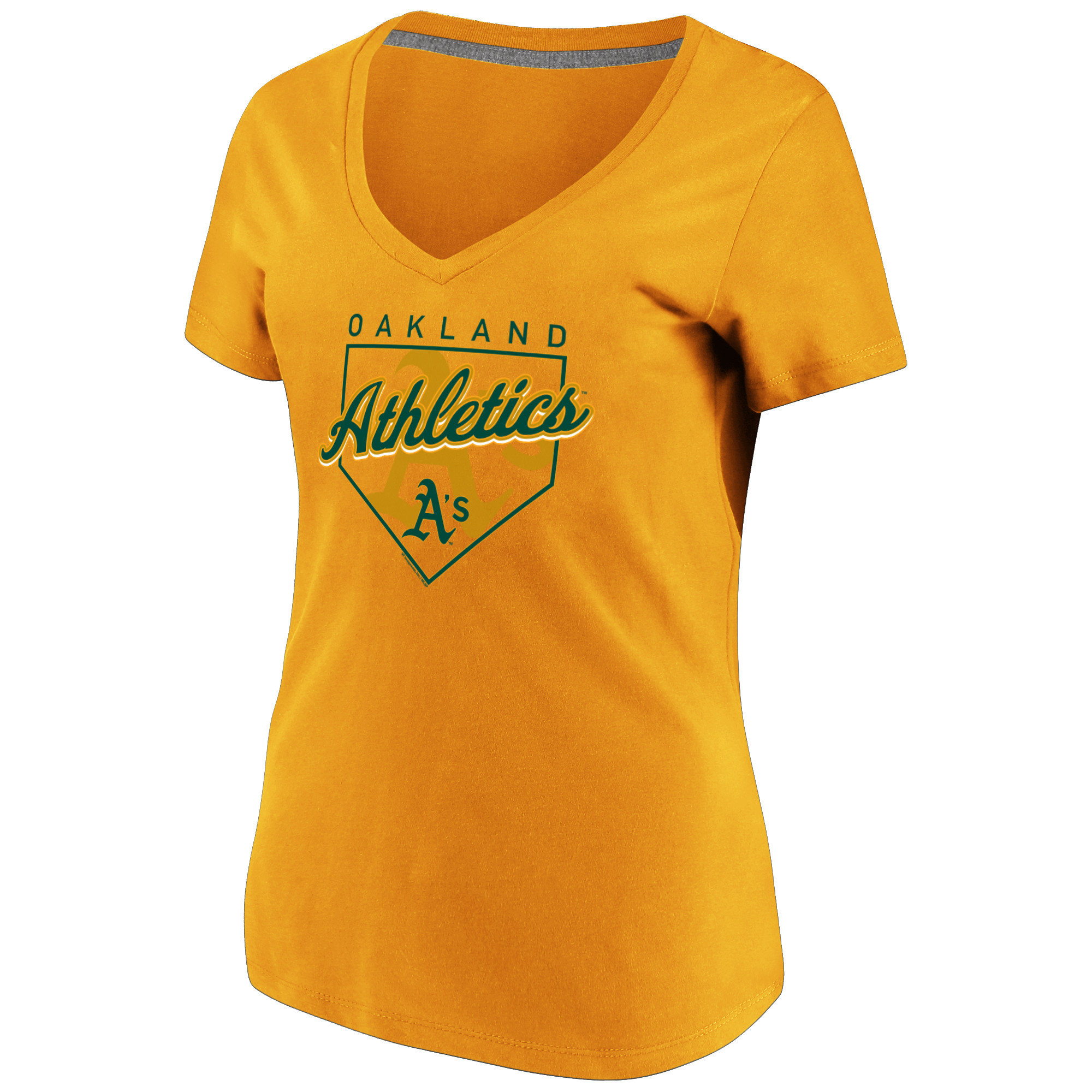 Women's Majestic Gold Oakland Athletics Cling to the Lead V-Neck T-Shirt