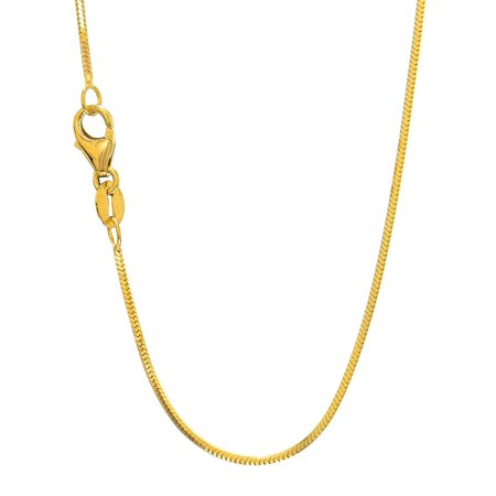 Solid Octagonal Snake - 14k Solid Gold Yellow Or White 1 mm Octagonal Snake Chain 16