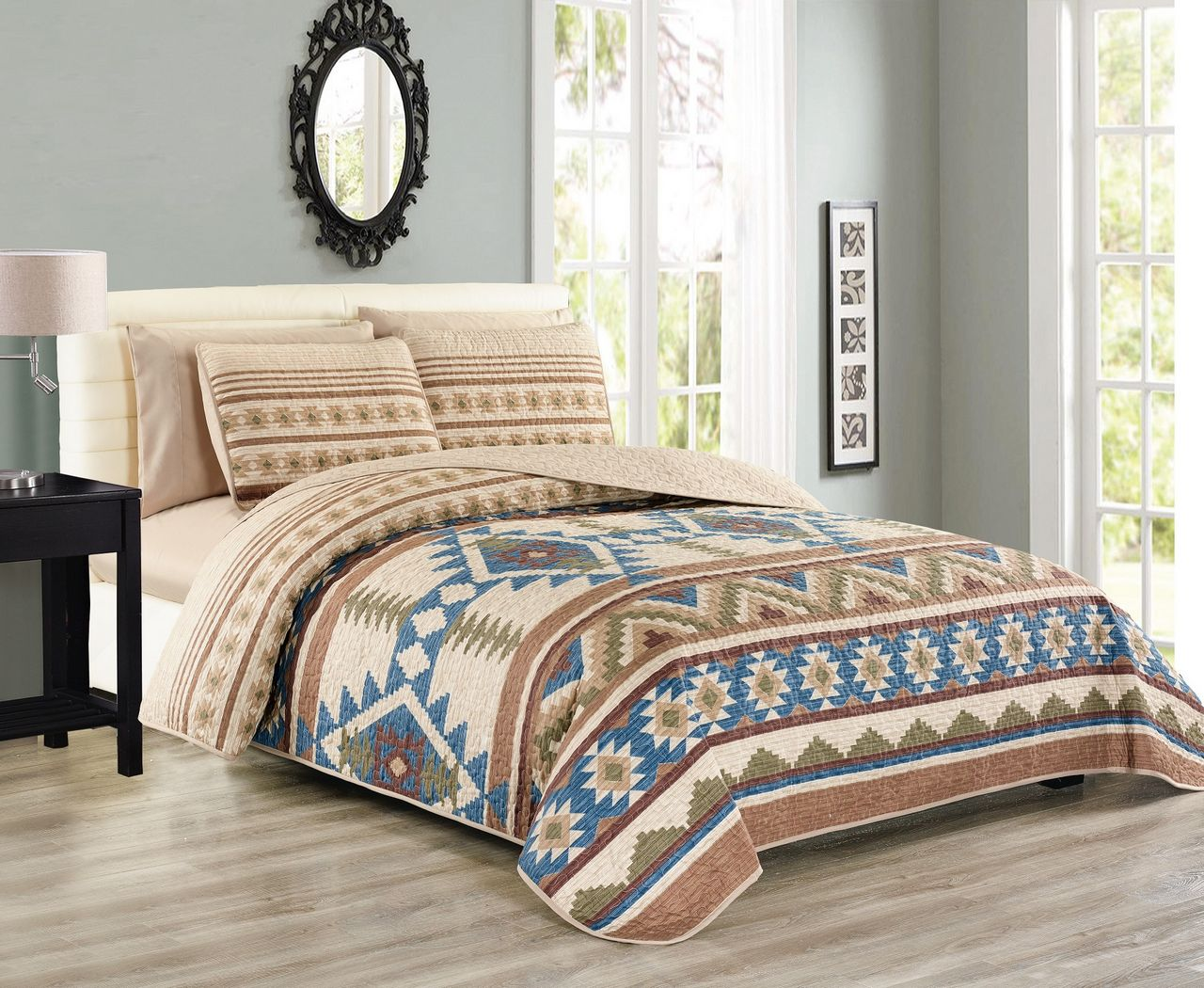 6 Piece Southwest Reversible Bedspread Quilt With Sheet