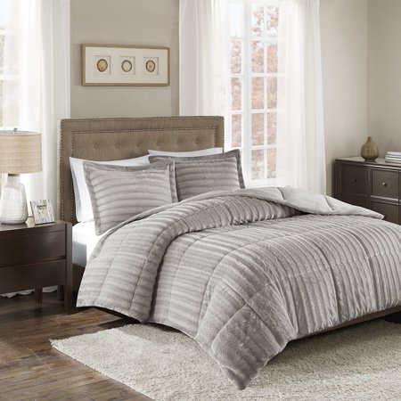 Madison Mint Dollar - Duke Faux Fur Comforter Mini Set Grey Full/Queen, Add glamor and style to your home with the Madison Park Duke faux fur comforter set. Made from a.., By Madison Park