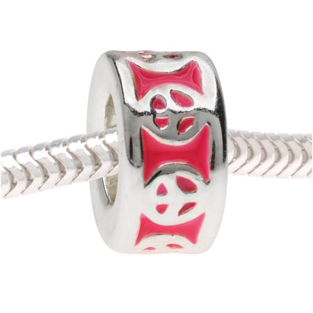 - European Style Large Hole Bead, Peace Sign Design 11.5mm, Silver Tone with Pink Enamel