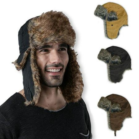 Clear Creek's Winter Warm Russian Trapper Hat or Aviator Cap W/ Trooper Fur Earflaps | For Women Men Unisex | Multiple Colors (Brown) (Earflap Hats For Men)