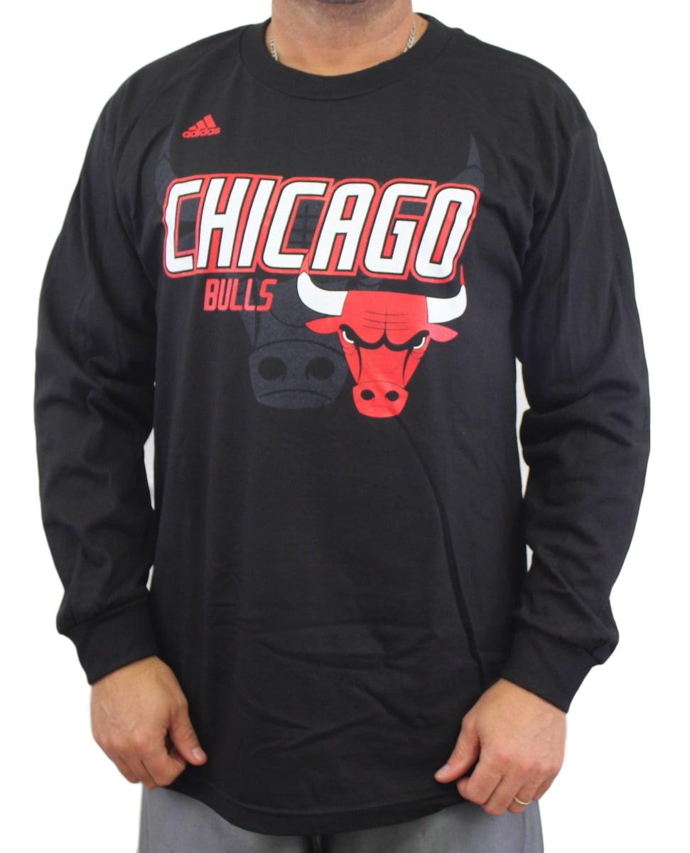 "Chicago Bulls Adidas NBA ""Distressed Back Logo"" Men's Black Long Sleeve T-Shirt by Nba"