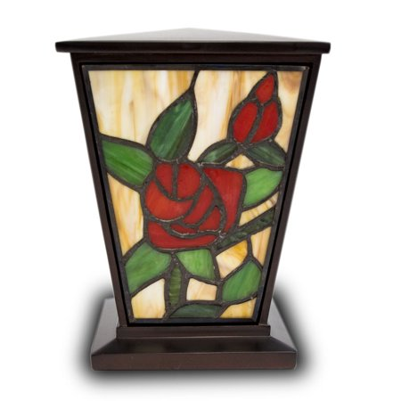 Stained Glass Memorial Urn For Adults - Medium 80 Pounds -  Red Rose - Engraving Sold Separately - Memorial Glass
