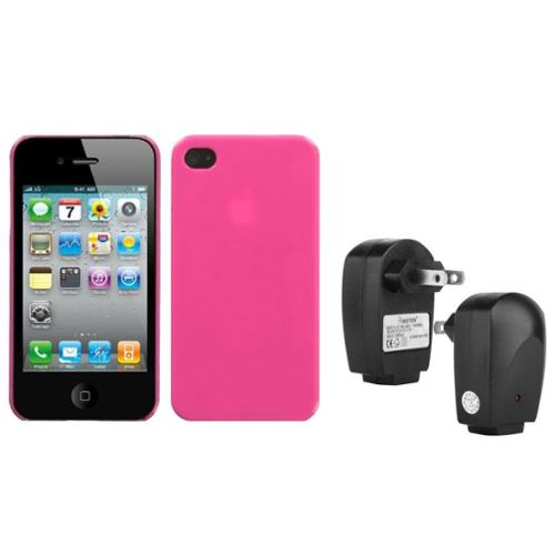 Insten Natural Pink Back Case For iPhone 4 4S + USB Travel Charger Adapter