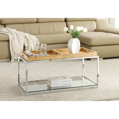 Convenience Concepts Palm Beach Coffee Table with Trays, Multiple Finishes - Convenience Concepts Palm Beach Coffee Table With Trays, Multiple