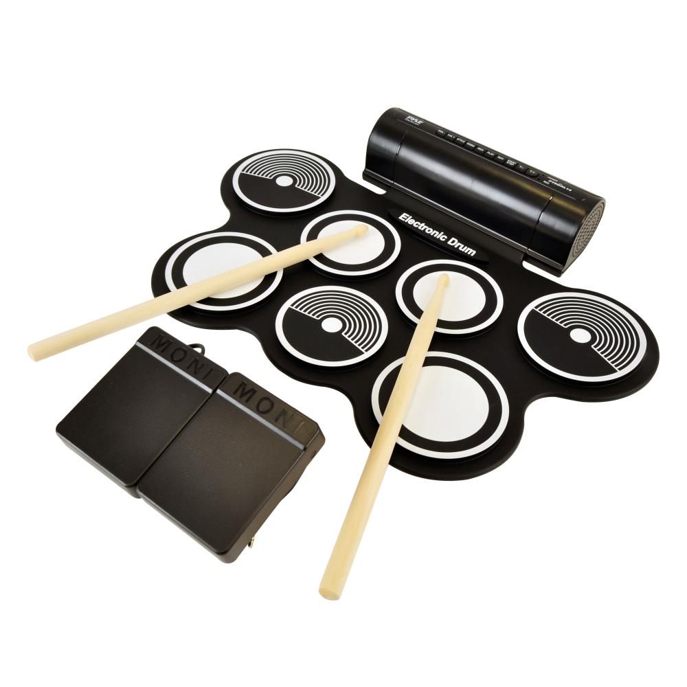 Pyle PTEDRL12 - Electronic Drum Kit - Compact Drumming Machine, Quick Setup Roll-Up Design