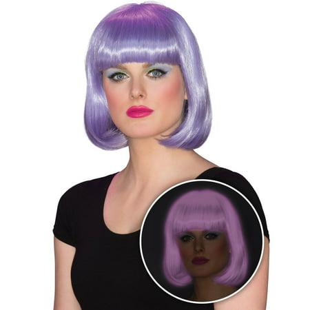 Purple Wig Halloween Costume (Womens Purple Glow Bob Halloween Costume Accessory)