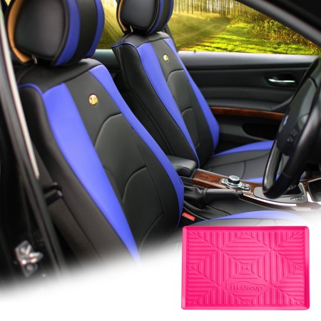 - FH Group Blue Black PU Leather Front Bucket Seat Cushion Covers for Auto Car SUV Truck Van with Magenta Dash Mat Combo