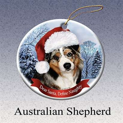 Australian Shepherd Dog Santa Hat Christmas Ornament Porcelain China USA-made