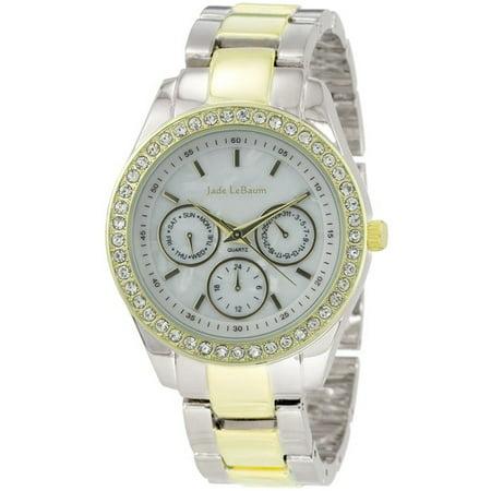 Jade LeBaum Ladies Boyfriend Bracelet Watch Two Tone Chunky Crystal Big Dial Reloj de Mujer