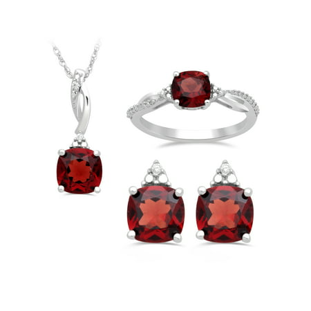 Genuine Garnet and White CZ Sterling Silver Ring, Pendant and Earring Box Set