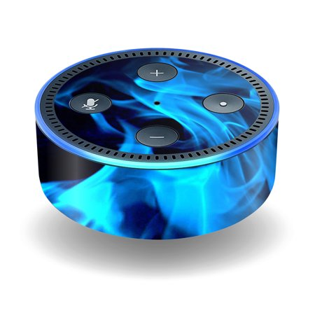 Skin Decal Wrap For Amazon Echo Dot  2Nd Generation  Stickers Blue Flames