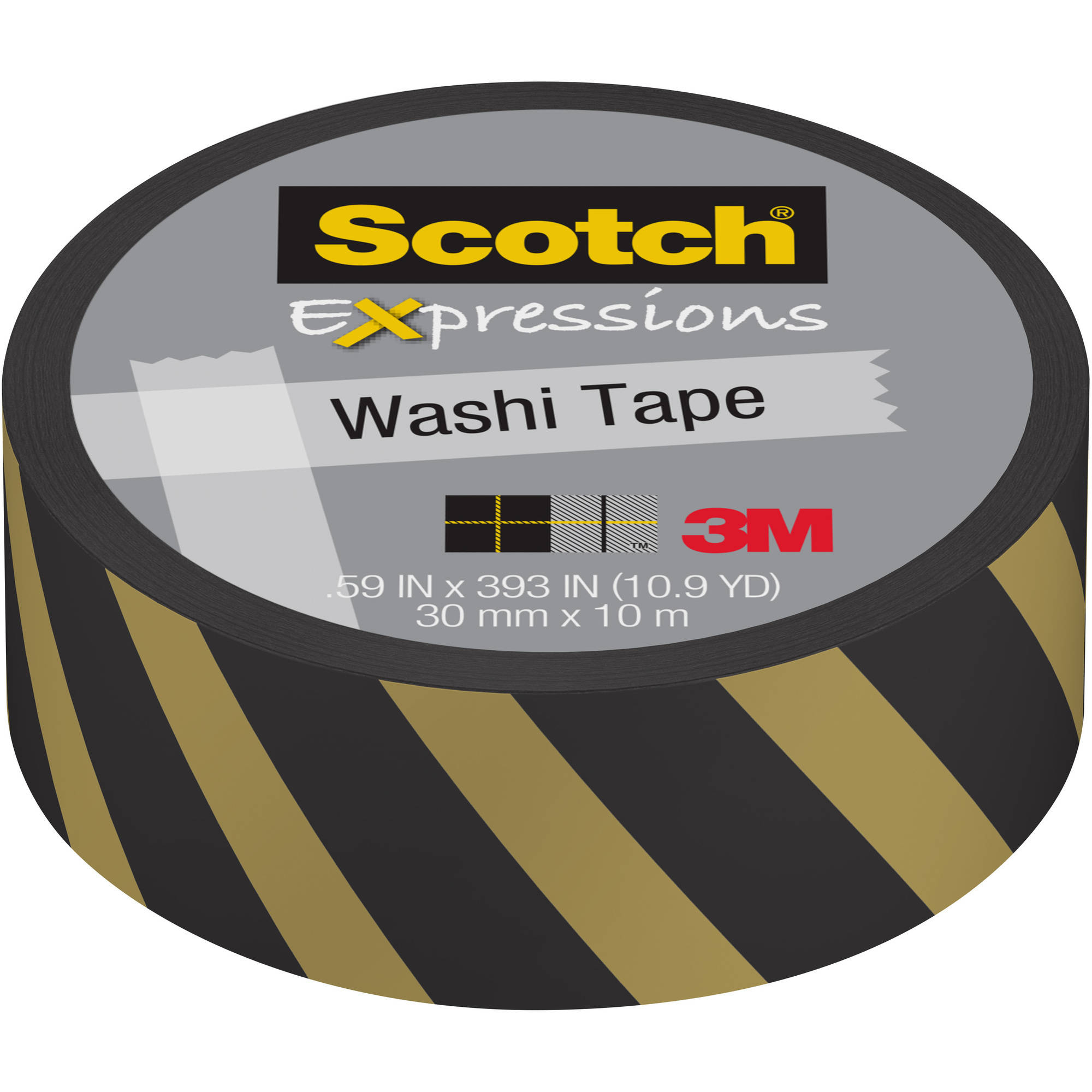 """Scotch Expressions Washi Tape, .59"""" x 393"""", Gold and Black Lines"""