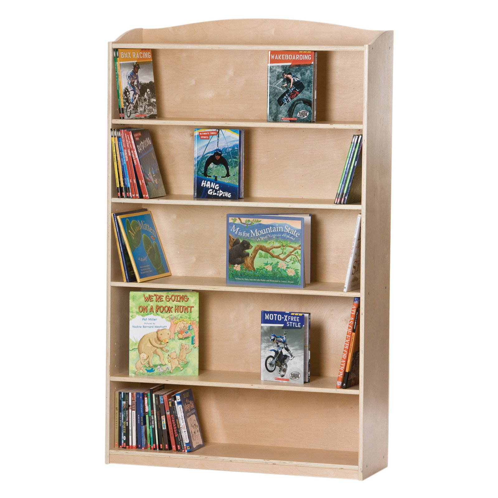Guidecraft Kids Bookshelf, 5-Tier with Adjustable Shelves, Multiple Colors